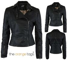 New Women Faux Leather Quilted Zipped Bomber Biker Jacket
