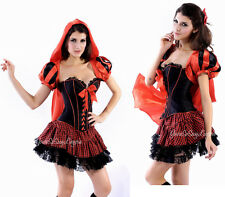 Sexy LITTLE RED RIDING HOOD Costume CORSET Mini Skirt Hooded SATIN CAPE Jacket