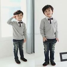 1-4T Kids Boys  Pullover Long Sleeve Tops Shirts Bow Tie Sweater School T-shirts