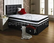 BLACK  ORTHOPAEDIC AIR FOAM BED DIVAN MATTRESS HEADBOARD  5FT 4FT6 3FT DOUBLE