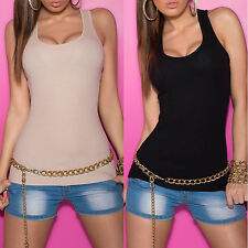 NEW SEXY RIBBED COTTON SINGLET TANK TOP LADIES SIZE 6 8 10 PARTY/CASUAL/DAY WEAR
