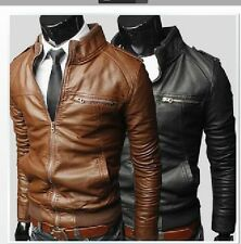2014 New Men's Slim collar leather motorcycle jacket pu leather jacket