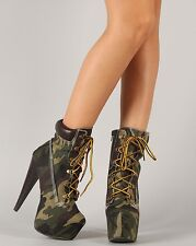 Sexy Urban Chic Qupid Camouflage Almond Toe Chunky Heel Platform Bootie