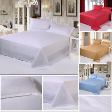 Fashions Solid Color Deluxe Satin Cotton Striped Bed Sheet Sets,3 Sizes&5 Colors