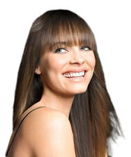 STRAIGHT ACROSS LONGER SIDES CLIP IN ON FRINGE BANGS 100% HUMAN HAIR ALL COLOURS