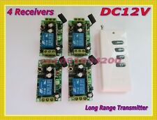 Lighting Remote Control Switch 12V DC RF LED Switch 4Receiver Long Range Transmi