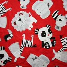 Free Shipping by the yard panda lion printed 100% Cotton Plain Fabric 43.3""