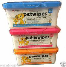 Petkin Pet, Paw or Tushie Wipes for your Pet Dog Cat Puppy re useable tub