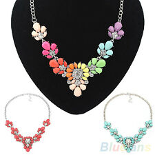 Awesome Women Flower Crystal Bib Statement Fashion Necklace Pendant Collar Chain