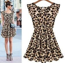 Fashion sexy Leopard stretch comfortable pretty cocktail casual dress D88 3size