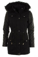 Ladies Livia Quilted PU Faux Leather Sleeve Fur Trim Hood Parka Jacket Coat Blac