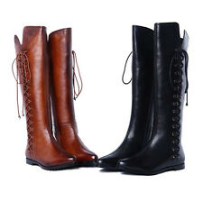 Womens Fur Lining long boots real leather Goth Biker shoes Cool lace up fashion