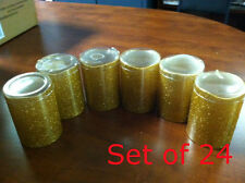 """Wholesale Lot of 24 -Gold 3 x 4"""" Glitter LED Pillar Wax Candle w/timer 62325742G"""