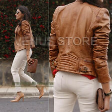 Women ZiP Quilted Motorcycle faux Leather Biker Jacket baseball Coat Brown S M L