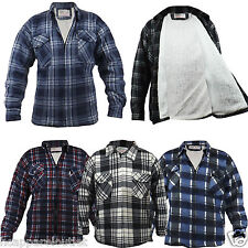 Mens Adults Padded Quilted Lumberjack Flannel Warm Fur Lined Work Shirt Jacket