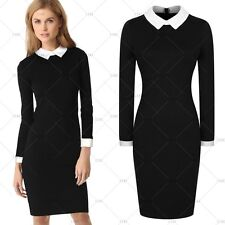New Womens Vintage Office Dress Party Doll Collar Bodycon Pencil Career Dresses