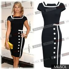 Womens Celeb Style square neck Bodycon Business Party Cocktail Pencil Dresses
