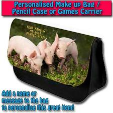 PERSONALISED CUTE PIGLETS PENCIL CASE KIDS GAMES TRAVEL MAKE UP BAG ST337