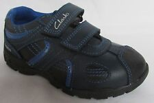 "BNIB Clarks Boys Flash Brite Navy Blue Leather ""Lights"" Shoes F/G/H Fitting"