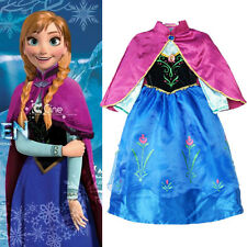 Kids Girls Frozen Princess Queen Elsa Anna Cosplay Costume Fancy Dress + Cloak