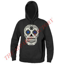 New Men's Day of the Dead Sugar Skull Black Hoodie Sweatshirt Mexican death