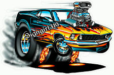 69 Ford Mustang Muscle Car ManCave Garage Fathead Decal Sticker NHRA Drag Racing