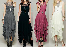 Women Sheer Lace Party Casual Prom Evening Cocktail Long Vintage Dress G1026