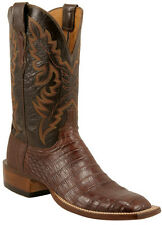 Lucchese C1001 W8S Mens Sienna Brown Caiman Crocodile Belly Boots Made in USA