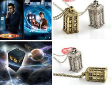 Doctor Who 3D TARDIS Police Box Pewter Tall Charm Pendant Necklace Fsahion Retro