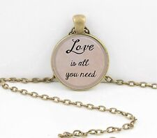 "The Beatles ""Love is all you need"" Lyrics Gift Pendant Necklace"
