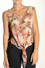 NWT OXMO Trudy Sleevless Feather Print Chiffon Tank Top Blouse Tie Front Hi-Low