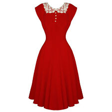 Hell Bunny Emilie Red 40s Style Victory WW2 Tea Party Dress