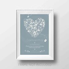 Personalised Bridesmaid Maid of Honour Flower Girl Thank you Print Gift Word Art