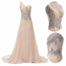 Vogue~~ Long Chiffon Prom Beaded  Formal Bridesmaids Evening Dresses Party Gowns