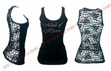 New Junior's Maid Of Honor Rhinestone Lace Back Tank Top Shirt S-3XL bridesmaid