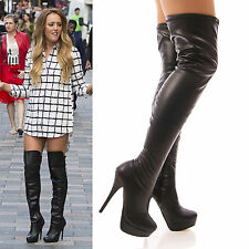 LADIES WOMENS SEXY THIGH HIGH STRETCH BOOTS PLATFORM BLACK FAUX LEATHER SIZE