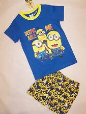BNWT  DESPICABLE ME MINIONS BLUE SUMMER COTTON PYJAMAS SLEEPWEAR - SIZE 2 TO 8