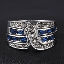 Size 9,10,11 Men's Jewelry Blue Sapphire 10KT White Gold Filled Cocktail Ring