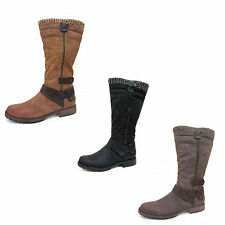 Ladies Spot On Knee High Boots with Knitted Collar F50329