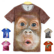 Men's Summer 3D Animal Print T-shirts Cartoon Short Sleeve Clothes Tops W39