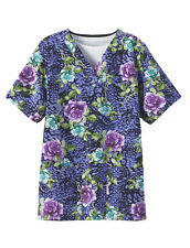 Tafford Nursing Scrubs Uniform Top Purple FLORAL Rose Colorful XS S Small Shirt