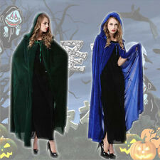 W8 Popular Halloween Costume Cosplay Gothic Wizard Witch Hooded Cape Long Cloak