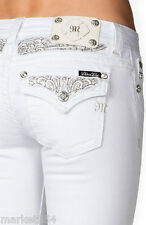 White Bootcut Miss Me Jeans Peacock Feather Sequins Pocket Women Denim JP5974B4
