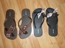 NOVA CHECK BURBERRY RIBBON ON A HANDMADE FLIP FLOP  SHOE 6 7 8 9 10 11
