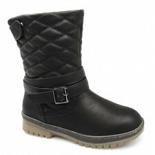 Spot On Womens Ladies Quilted Padded Comfy Warm Velcro Buckle Winter Boots Black