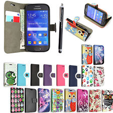 For Samsung Galaxy Ace 4 Printed PU Leather Magnetic Flip Case Cover + Stylus