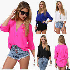 Hot New Women's Chiffon Long Sleeve Shirt Sexy V Neck Loose Tops Blouse T-Shirt