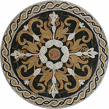 Abstract Floral Medallion Rounded Rope Natural Stone Marble Mosaic MD1520