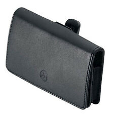 NEW OEM MOTOROLA BLACK LEATHER PREMIUM POUCH CASE WITH BELT CLIP FOR SMARTPHONES