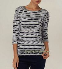 PHASE EIGHT TRINITY NAVY BLUE IVORY WAVY TEXTURE STRIPE JERSEY TOP SIZE 8-16 NEW